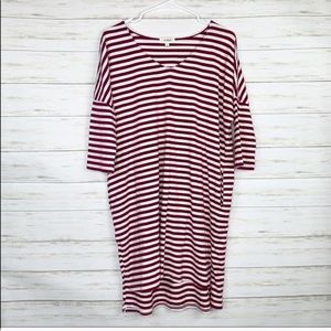 Umgee | Maroon And White Striped T Shirt Dress